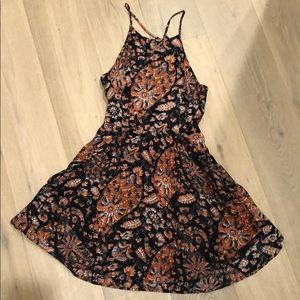 Black paisley skater dress